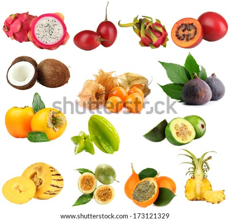 Collage of tropical fruits isolated on white - stock photo