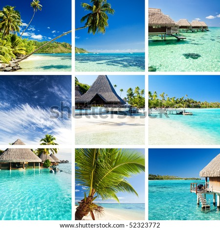 Collage of tropical images from moorea and tahiti islands - stock photo