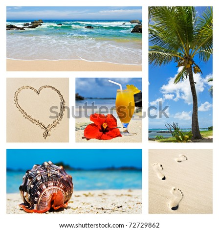 Collage of tropical island scenes - stock photo