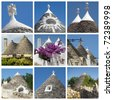 collage of trulli houses, Apulia, Italy 	 - stock photo