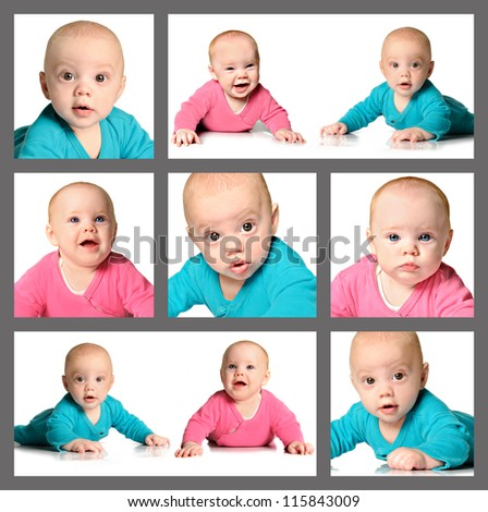 Collage of twin brother and sister - stock photo