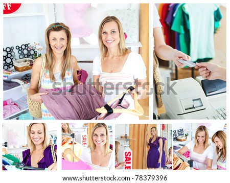 Collage of two attractive women doing shopping