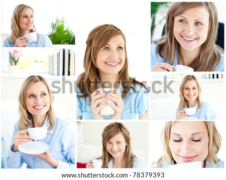 Collage of two blonde women enjoying some coffee at home - stock photo