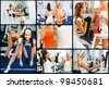 Collage of two female athletes engaged in gym on different machines. - stock photo