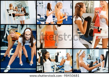 Collage of two female athletes engaged in gym on different machines.