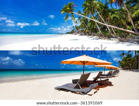 Collage of two horisontal images of white sandy tropical beach - stock photo