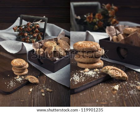 Collage of two photos showing cookies and dry roses,  made in the dark tonality - stock photo