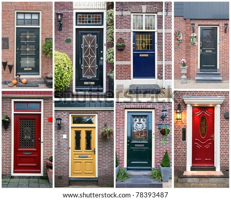 collage of typical dutch doors - stock photo