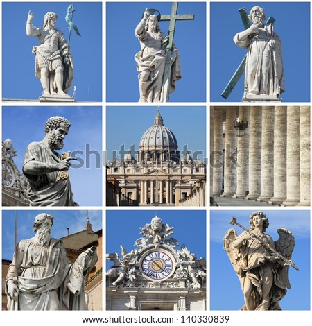 Collage of urban scenes in Vatican City State - stock photo