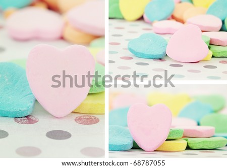 Collage of Valentine's Day heart shaped candy with selective focus. Some blur in foreground. Blank for your copy space. - stock photo