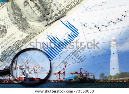 Collage of various business elements. Dollar, stocks, sky, building - stock photo