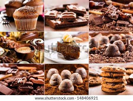 collage of various chocolate products - stock photo