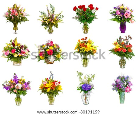 Collage of various colorful flower arrangements as bouquets in vases and baskets - stock photo