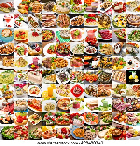 Collage of various dinner foods and appetizers
