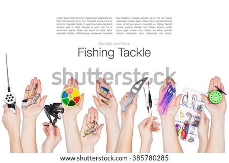 collage of various fishing tackle in a hands isolated on white background - stock photo