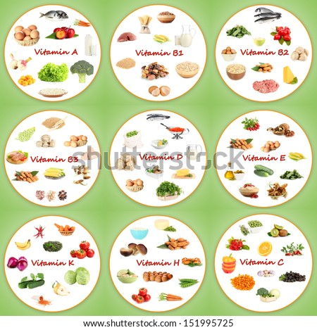 Collage of various food products containing vitamins - stock photo