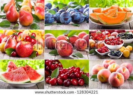 collage of various fresh fruits and berries - stock photo