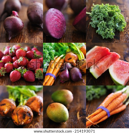 collage of various fruits and vegetables - stock photo