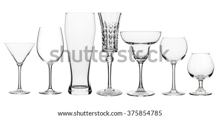 Collage of various glasses clear isolated on white - stock photo