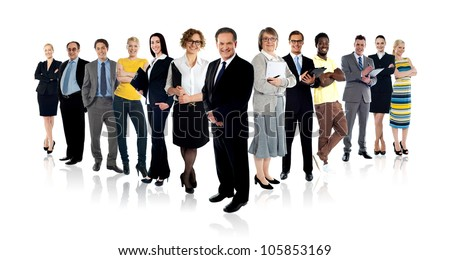 Collage of 13 various people belonging to business and fashion industry. Full length shots - stock photo