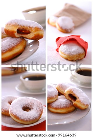 Collage of various pictures of doughnuts - stock photo
