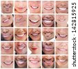 Collage of various pictures of people smiling - stock photo