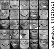 Collage of various pictures of smiles in black and white - stock photo