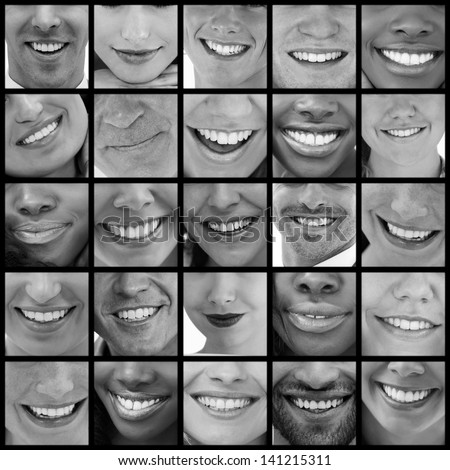 Collage of various pictures of smiles in black and white
