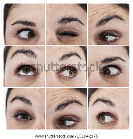 Collage of various pictures showing the eyes of a woman grimacing - stock photo