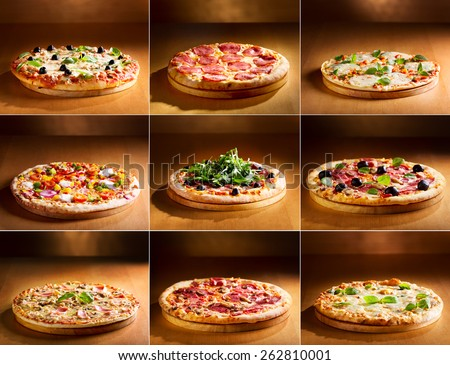 collage of various pizza  - stock photo