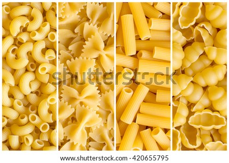 Collage of various raw yellow pasta backgrounds. Rigati, farfalle, rigatoni, gnocchi - stock photo