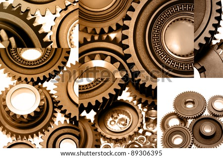 Collage of various size cogs
