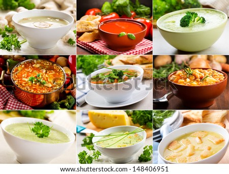 Collage of various soups  - stock photo