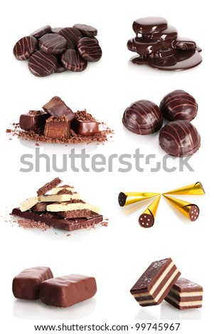 collage of various sweet candies and biscuits isolated on white background