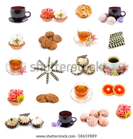Collage of various sweet foods and tea on a white background - stock photo