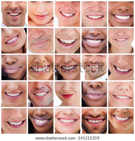Collage of various white smiles - stock photo