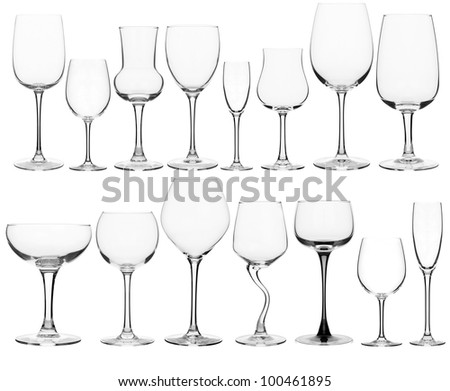 collage of various wine glasses - stock photo