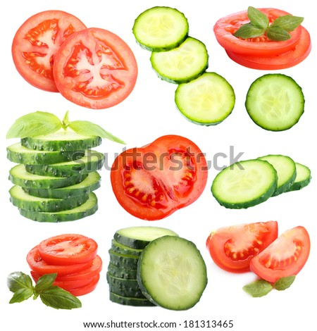 Collage of vegetable slices isolated on white