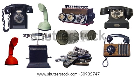Collage of vintage telephones isolated on white background - stock photo