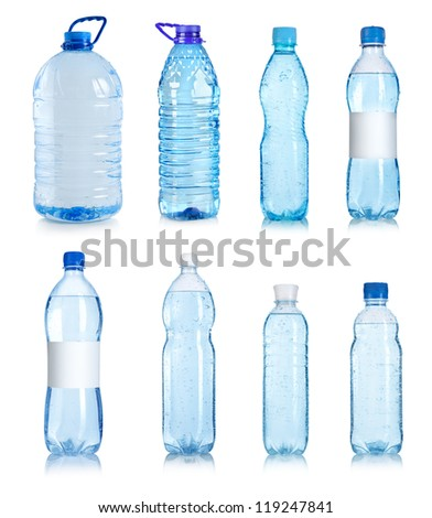 Collage of water bottles isolated on a white background - stock photo