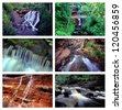 Collage of Waterfalls in Michigan's beautiful Upper Peninsula - stock photo