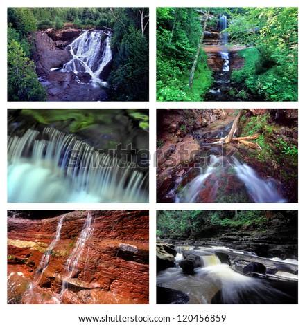 Collage of Waterfalls in Michigan's beautiful Upper Peninsula - stock photo