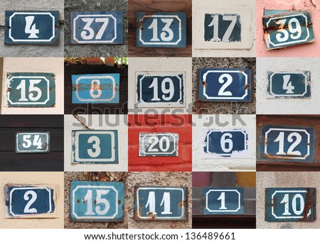 Collage of weathered house numbers on the wall
