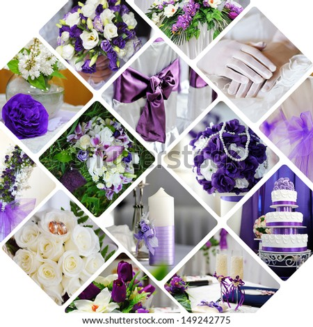 Collage of wedding photos in purple style - stock photo