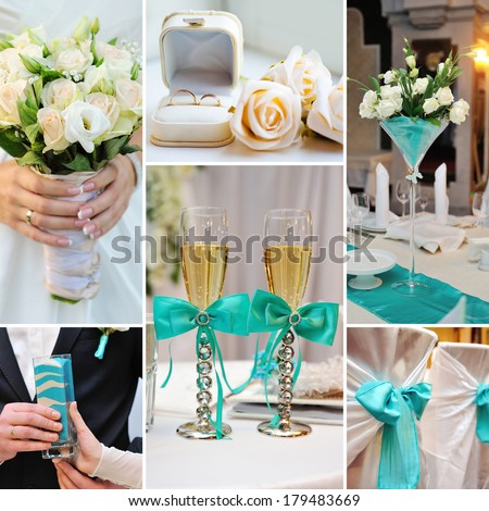 collage of wedding pictures decorations in turquoise, blue colors - stock photo