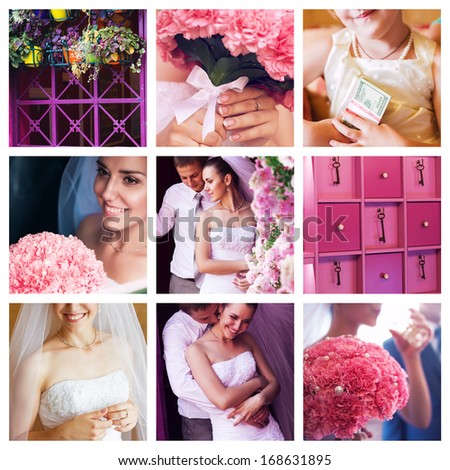 collage of wedding with carnations