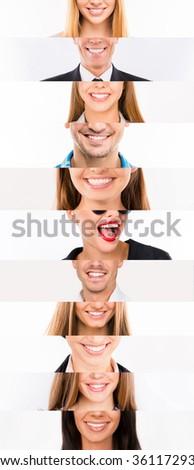Collage of white human  smiles. - stock photo