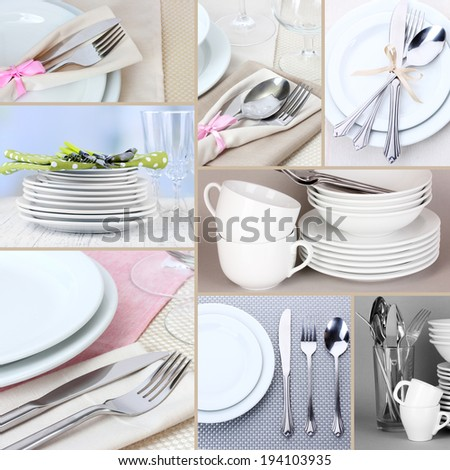 Collage of white tableware - stock photo