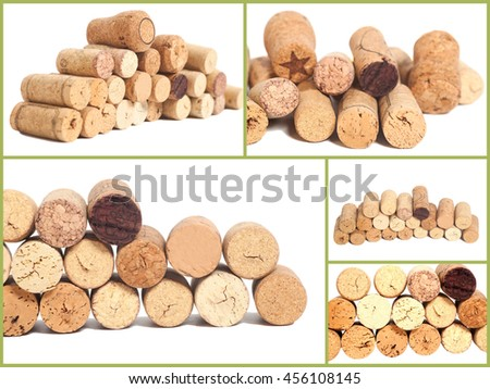 Collage of Wine corks isolated on white background - stock photo