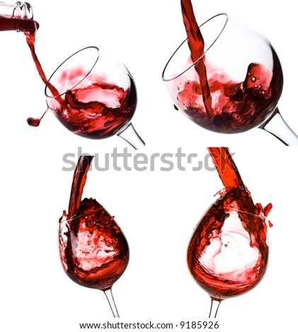 collage of wine shots - stock photo